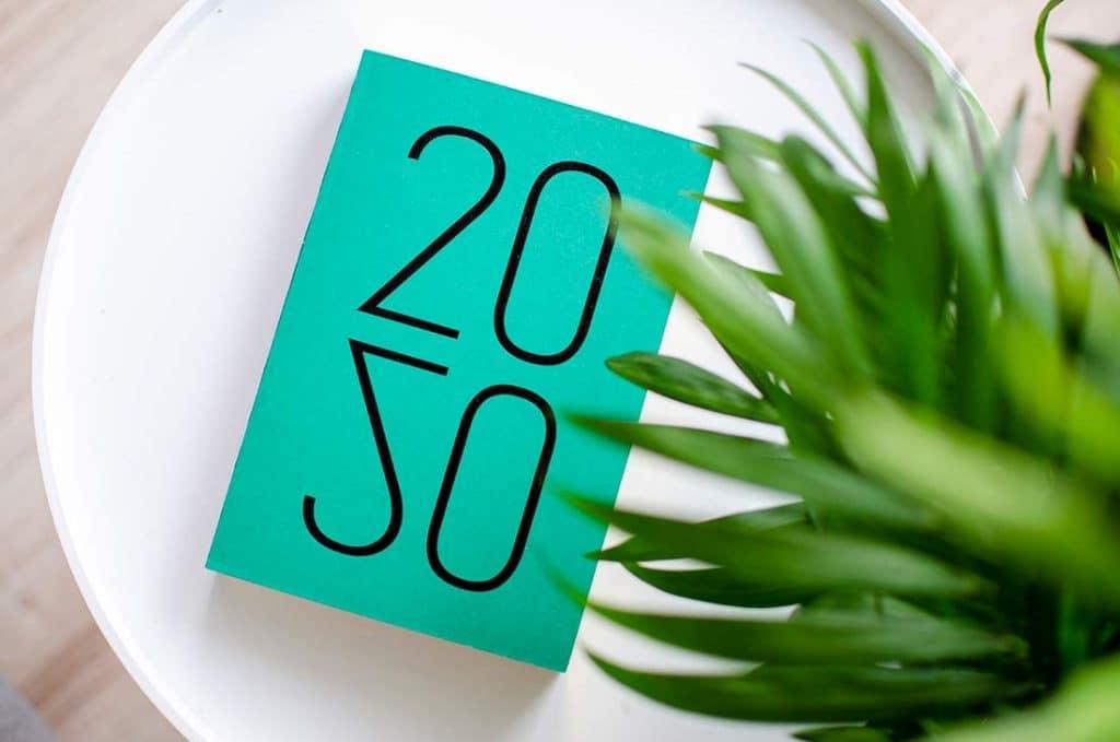 תצוגה של לוח שנה 2020 מעוצב